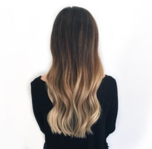 Blonde Balayage on dark hair long