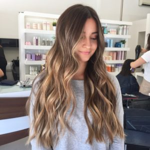 Dark hair balayage sun kissed